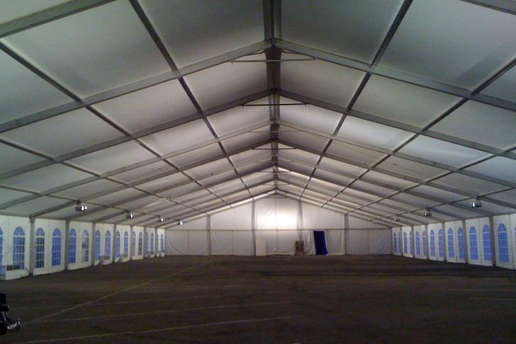 Clear Span Tent Basic White Lighting